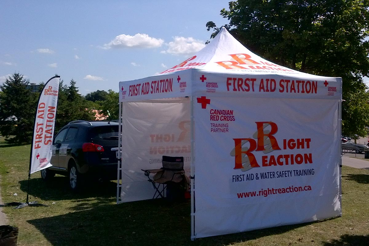 Right Reaction First Aid Services Team tent